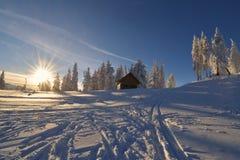 Chalet in den Bergen in der Wintersaison stockbilder