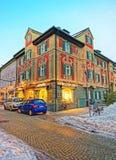 Chalet di stile bavarese decorati per il Natale a Garmisch Partenkirchen Fotografia Stock Libera da Diritti