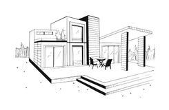 Chalet dibujado mano casa residencial privada moderna Ejemplo blanco y negro del bosquejo stock de ilustración