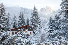 Chalet at Dolomites Alps Royalty Free Stock Photo