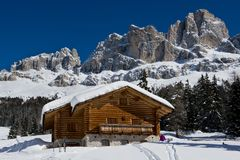 Chalet in the Dolomiti royalty free stock image