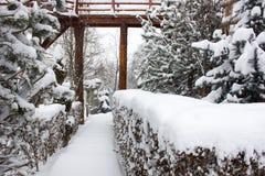 Chalet e cabina dello sci di inverno in montagna della neve Immagini Stock Libere da Diritti