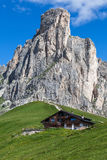 Chalet at the foot of a high mountain Royalty Free Stock Photo