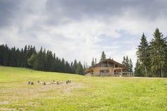 Chalet i bergen Fotografering för Bildbyråer