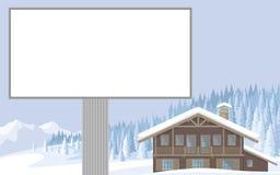 Chalet i bergen stock illustrationer