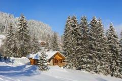Chalet i vinter Fotografering för Bildbyråer