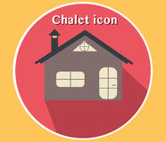 Chalet icon vector illustration. Flat design with 3D look. Camping, hotel, house, cottage. Stock Photos