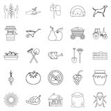 Chalet icons set, outline style. Chalet icons set. Outline set of 25 chalet vector icons for web isolated on white background Stock Photography