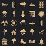 Chalet icons set, simple style. Chalet icons set. Simple set of 25 chalet vector icons for web for any design stock illustration