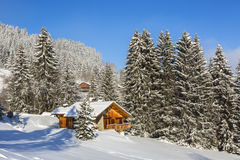 Chalet im Winter Stockbild