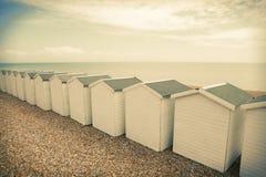 Chalet Inghilterra della spiaggia delle capanne della spiaggia Immagini Stock