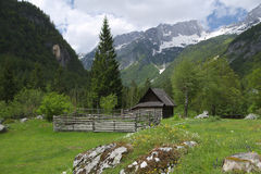 Chalet on the Julian Alps, Slovenia Royalty Free Stock Image
