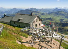 Chalet on Kitzbuhel peak in Tirolean Alps, Austria Stock Image