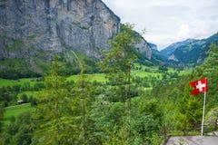 Chalet in Lauterbrunnen-het kanton Zwitserland van valleibern royalty-vrije stock foto