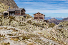 Chalet Le Refuge Du Lac Blanc-France. View Of Mountain Chalet Le Refuge Du Lac Blanc And Mountain Range-Lac Blanc,Mont Blanc Area,France Royalty Free Stock Image