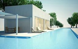 Chalet moderno con la piscina de agua ilustración del vector