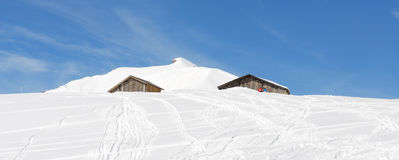 Chalet of mountain in winter Royalty Free Stock Images