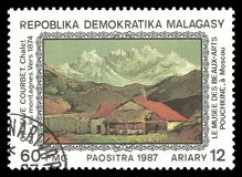 Chalet in the Mountains by Gustave Courbet. Madagascar - stamp 1987: Color edition on Art, Shows Painting Chalet in the Mountains by Gustave Courbet stock illustration