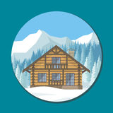 Chalet in the mountains. The image of a chalet in snowy mountains. Beautiful winter landscape. Vector background Stock Photography