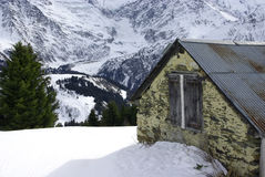 Chalet in the mountains with snow Stock Image