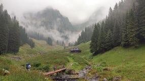 Chalet op bergen stock foto