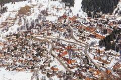 Chalet op de hellingen van de vallei Meribel Ski Resort Meribel royalty-vrije stock afbeeldingen
