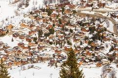 Chalet op de hellingen van de vallei Meribel Ski Resort Meribel royalty-vrije stock foto
