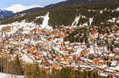 Chalet op de hellingen van de vallei Meribel Ski Resort Meribel royalty-vrije stock foto's