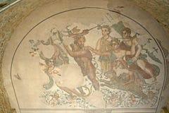 Chalet romano del fragmento del mosaico Foto de archivo