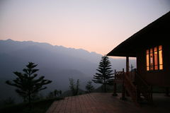 Chalet in Sapa by dusk. Chalet in Sapa in North Vietnam by dusk in the mountains royalty free stock photography