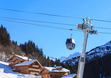 Chalet on the slopes of the valley Meribel. Cabins cableway. Ski Resort Meribel Village Center (1450 m) Stock Photography