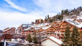 Chalet on the slopes of the valley Meribel. Ski Resort Meribel Stock Photo