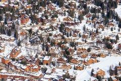 Chalet on the slopes of the valley Meribel. Ski Resort Meribel Stock Images