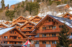 Chalet on the slopes of the valley Meribel. Ski Resort Meribel Royalty Free Stock Photo