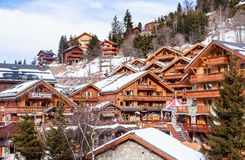Chalet on the slopes of the valley Meribel Stock Photography