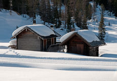 Chalet in the snow - Dolomites Stock Photo