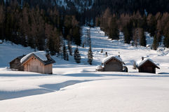 Chalet in the snow - Dolomites Royalty Free Stock Photos