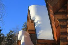 Chalet with snow on the roof. A chalet with snow on the roof Stock Photos
