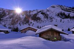 Chalet in the snow stock image