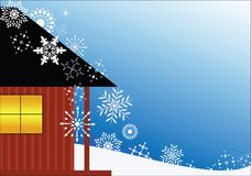 Chalet with snowflakes. Chalet with variety of different snowflakes (light on in window stock illustration