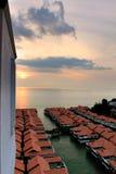 Chalet sopra il mare a porto Dickson, Malesia Immagine Stock