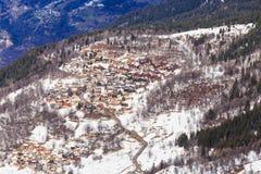 Chalet sui pendii della valle Meribel Ski Resort Meribel Immagini Stock