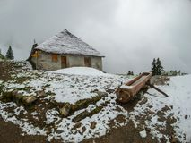 Chalet in Switzerland Alps. Mountains Stock Photography