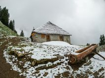 Chalet in Switzerland Alps. Mountains Royalty Free Stock Images