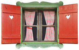Chalet Window Cutout. Colorful Wooden Chalet Window Isolated with Clipping Path Additional format is with transparent background stock images