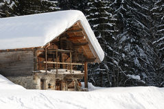 Chalet  in winter. Chalet under the snow in french alps in winter Stock Photos