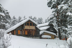 Chalet in winter - Abant - Bolu - Turkey Stock Photos