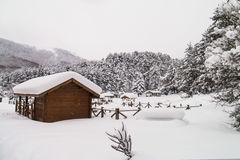 Chalet in winter - Abant - Bolu - Turkey Stock Photography