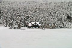 Chalet in winter - Abant - Bolu - Turkey Royalty Free Stock Images