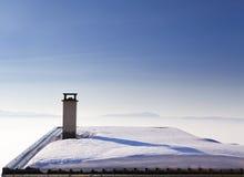 Chaletdak in de Alpen, Frankrijk Stock Afbeelding